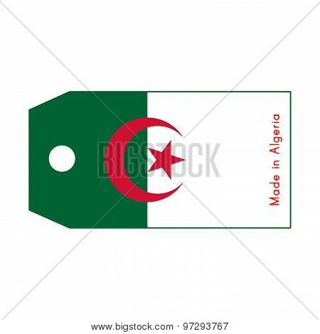 Algeria Flag On Price Tag With Word Made In Algeria Isolated On White Background.