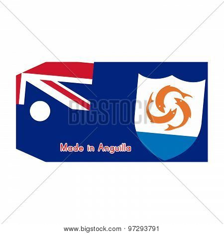 Anguilla Flag On Price Tag With Word Made In Anguilla Isolated On White Background