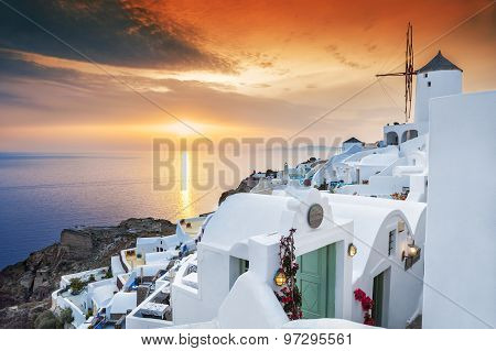 Sunset On Santorini Island, Greece