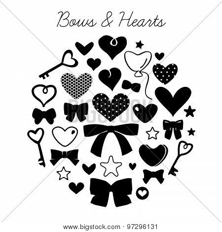 Set of bows and hearts