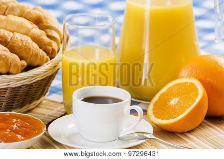 Breakfast with assortment of pastries, coffees and fresh juice