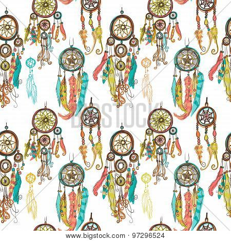 Seamless vector illustration with dream catchers on the white background. Vector illustration