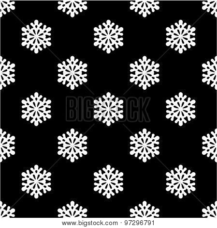 Snowflakes black and white seamless pattern