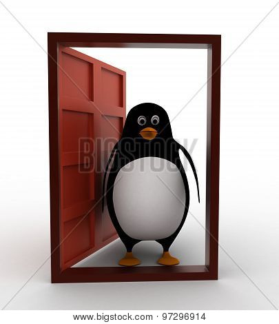 3D Penguin Oepn Door To Welcome In Concept