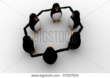 3D Penguin Group Team Standing In Circle Concept