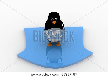 3D Penguin Holding Map Of World And Standing On Arrow Concept