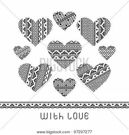 Set of lace hearts