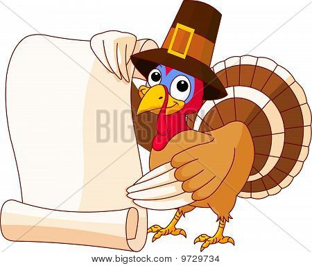 Thanksgiving Turkey Holding Scroll