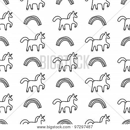Rainbows and unicorns black and white seamless pattern