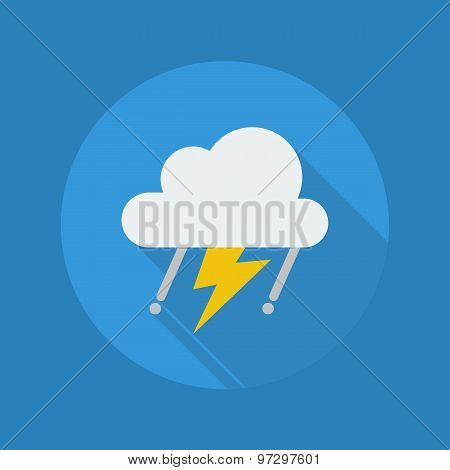Weather Flat Icon. Rainy With Thunder