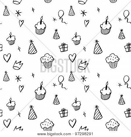 Birthday seamless pattern in hand drawn style