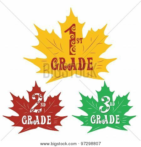 stickers in the shape of maple leaves primary school.