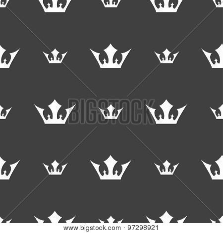 Crown Icon Sign. Seamless Pattern On A Gray Background. Vector