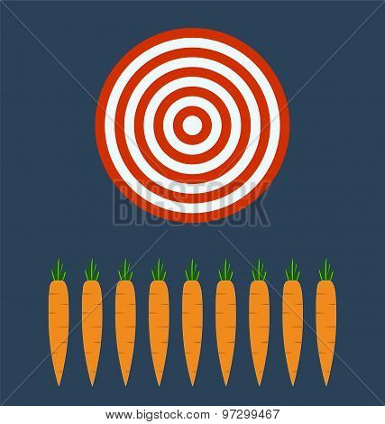 Farm Fresh Organic Carrots With Leaves, Target Business Concept.