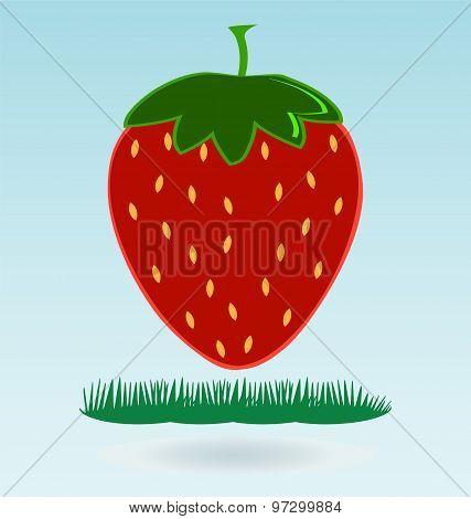 Strawberry Icon. Flat Design Style Modern Illustration, Grass Concept