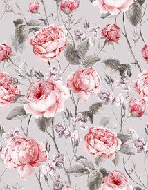 pic of english rose  - Classical vintage floral seamless pattern - JPG