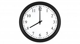 picture of analog clock  - Realistic 3D render of a wall clock set at 8 o - JPG