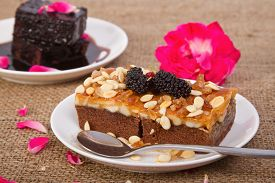 foto of toffee  - Homemade toffee cake with mulberry - JPG