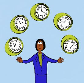 image of juggling  - Business cartoon showing businesswoman juggling five clocks - JPG
