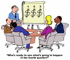 picture of going out business sale  - Business cartoon showing people in a meeting and a chart with dollar signs for quarter 1 - JPG