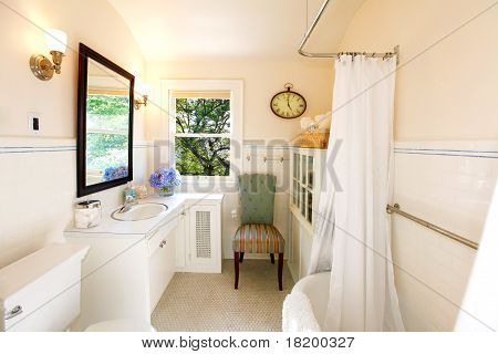 Antique Bathroom With White Curtain And Fresh View