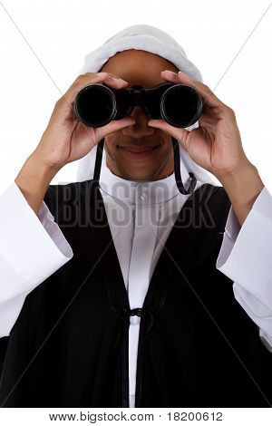 Young Attractive African American Man, Sheikh, Binoculars