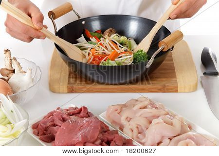 Young Nepalese Chef Hands, Oriental Food