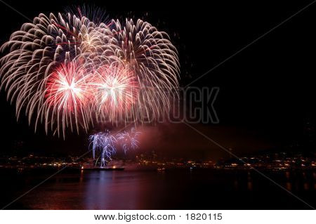Fireworks Over The City Of Seattle