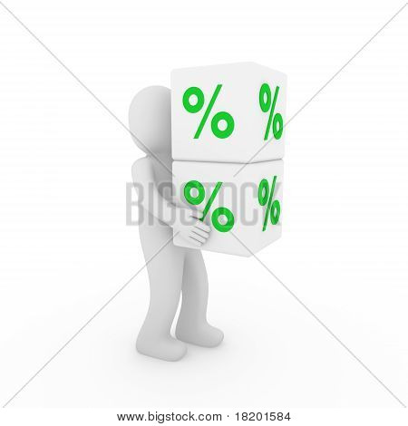 3D Human Sale Cube Green White