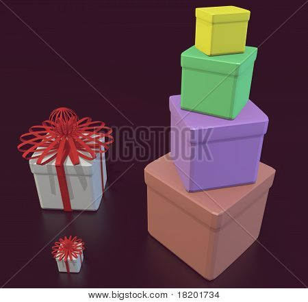 Set Of Multi-coloured Celebratory Boxes