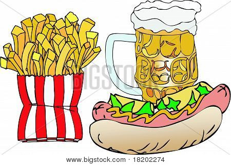 Beer, Hot Dogs And French Fries