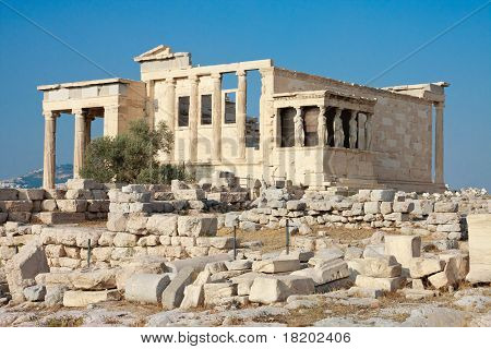 Erechtheion Temple Panorama, Acropolis, Athens, Greece