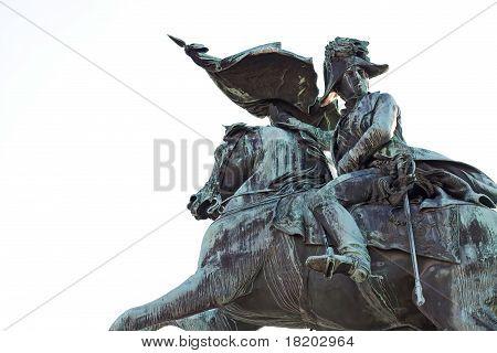 Detail of the statue of archduke Charles of Austria at the Heldenplatz in Vienna, Austria