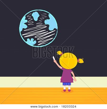 Little Girl In School Painting Earth On The Black Board.