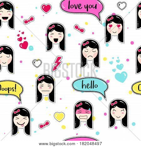 Emoji Seamless Pattern In Anime Style With Cute Girls Kawaii Patch Badges Tillable Background