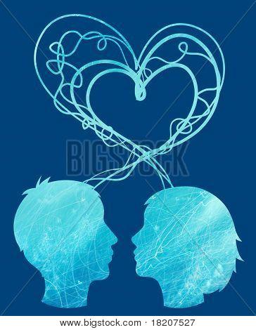 Abstrakt blau Silhouette paar Köpfe, Liebe Konzept