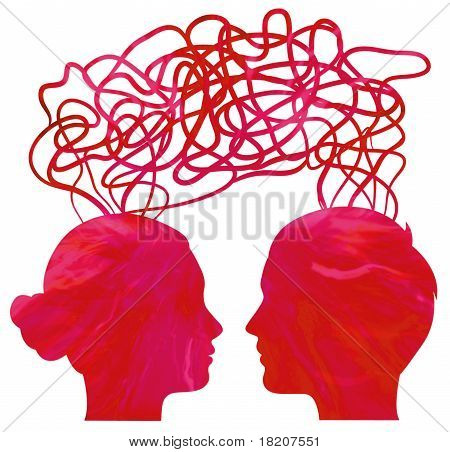 Abstract Red Silhouette Of Couple Heads Thinking, Relationship Concept