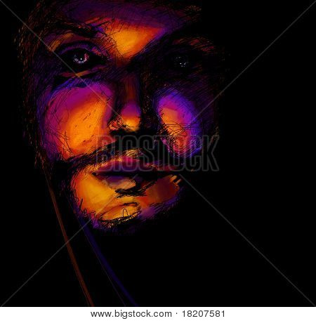 Abstract Bright Portrait Of Man, Digital Painting