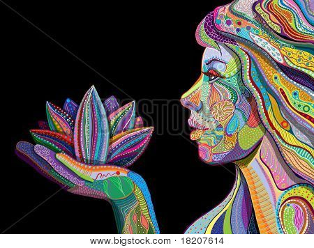 Woman Face With Multicolored Indian Pattern Holding Lotus Flower, Side View, Digital Painting