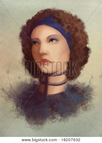 Young Curl Woman In Collar Portrait, Digital Painting