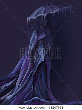 Woman In Long Dress Walking With Umbrella, Digital Painting
