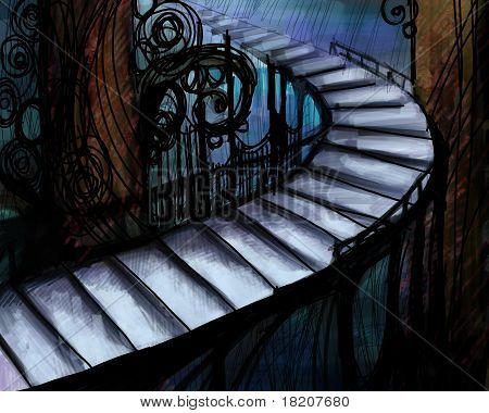 Abstract Picture With Long Staircase, Digital Painting