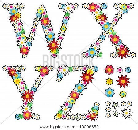 Floral alphabet set, letters W - Z, design elements