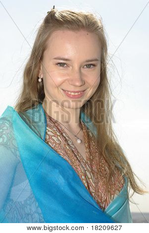 Girl wrapped in a blue pareo