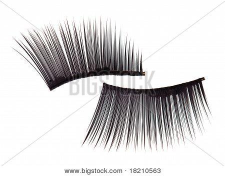 False Eyelashes, Isolated On White Macro View