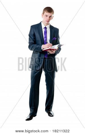The Young Businessman In A Suit With Daily Log