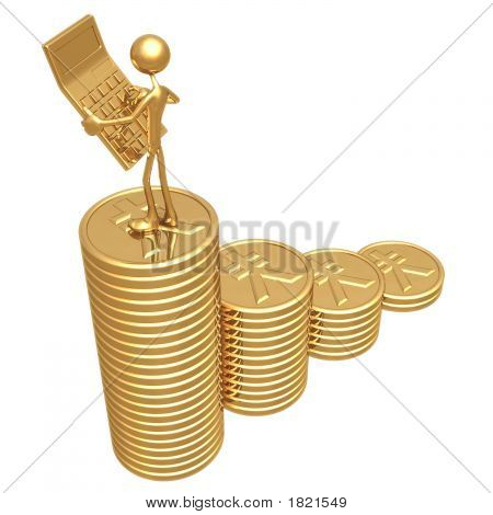 Accountant With Golden Calculator On Growth Statistics Business Graph Of Gold Coins