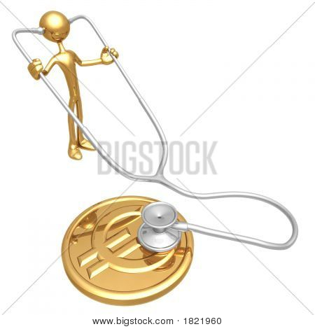 Checking Financial Health Of Gold  Euro Coin With Stethoscope