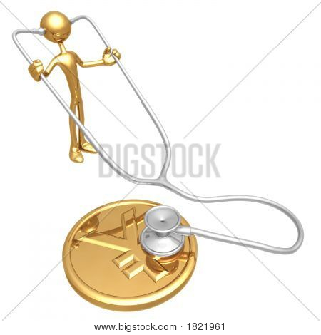 Checking Financial Health Of Gold Yen Coin With Stethoscope