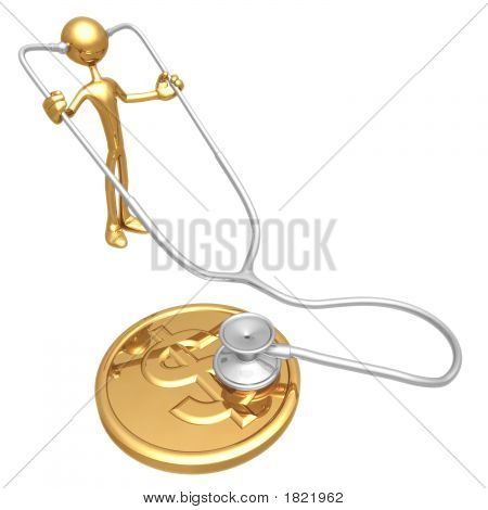 Checking Financial Health Of Gold Dollar Coin With Stethoscope